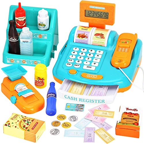 WloveTravel Toy Cash Register for Kids Pretend Play Money Machine Cashier with Sounds Scanner Calculator Scale Goods Shelf Credit Card Play Money amp Grocery Toy for Boys amp Girls Gift