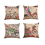 Fossrn Fundas cojines 45x45 Moderno Flores Bicicleta Fundas de Almohada Decorativo Sofa Baratos (01)
