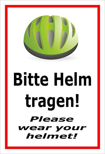 Melis Folienwerkstatt sticker schild - Gelieve helm dragen - S00050-091-B 30x20cm – Aluverbundplatte – mit Bohrlöchern