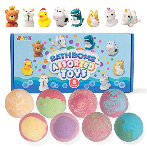 Bath Bombs for Kids with Assorted Animal Toys, 8 Pack Bubble Bath Bombs with Surprise Toy Inside, Natural Essential Oil SPA Bath Fizzies Set, Kids Safe Birthday Gift Set for Boys and Girls