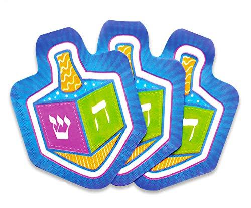 Izzy 'n' Dizzy Hanukkah Napkins - Hanukkah Paper Goods - Dreidel Shaped - 10 Pack