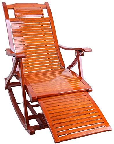 WANGFENG Mecedora Reclinable Silla De Salón De Bambú Plegable Sillón Ajustable Balcón Sillas Reclinables Silla De Jardín De Jardín Portátil Al Aire Libre