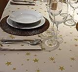 COTTON ARTean Mantel Rectangular 150 X 250 ESTRELLITAS Doradas. Fondo Beige con Estrellas Doradas. ALGODÓN 100%. SIN SERVILLETAS.