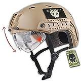 atairsoft ejército estilo militar SWAT combate BJ Base salto rápido casco w/gafas protectoras (de tan) para CQB Shooting para Airsoft y Paintball
