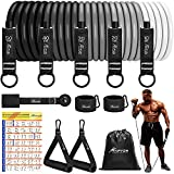Resistance Bands Set, HPYGN Exercise Resistance Bands with Handles, 5 Tube Fitness Bands with Door Anchor, Handles, Portable Bag, Legs Ankle Straps for Muscle Training, Physical Therapy, Home Workouts