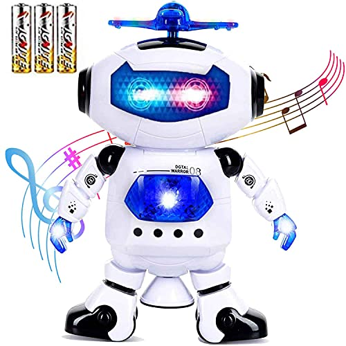 Toysery Walking Robot Toys for Kids - 360° Body Spinning Dancing Robot Toy with LED Lights Flashing and Music, Smart Interactive Electronic Kids Robot Toy, Baby Walking Toy for Toddler Boys and Girls