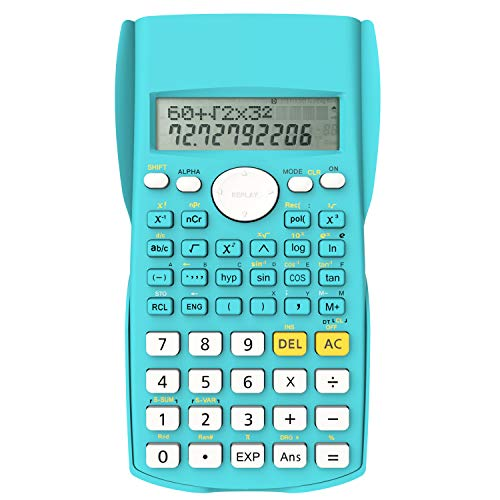 Helect Zweizeilig Wissenschaftliche Taschenrechner, Geeignet für Schule und Beruf, Blau