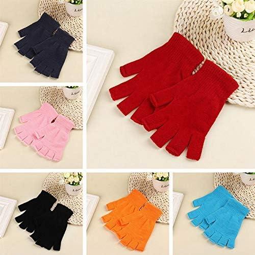 Students Knitted Stretch Elastic Warm Half Finger Fingerless Gloves Men Women Glove for Winter - (Color: BK)
