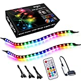 Addressable RGB PC LED Strip Kit, 2x13.8in WS2812B RGBIC Rainbow Magnetic ARGB Strip for Computer PC Case Lighting, for 5V 3-pin ASUS Aura SYNC, Gigabyte RGB Fusion, MSI Mystic Light Sync Motherboard