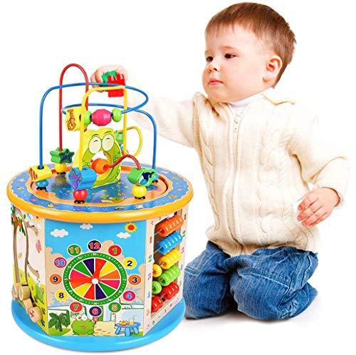 TDOYO Juguete de Madera para Bebé Juguete Actividad Cubo de Madera Juguetes de Cubo para niños, Laberinto Educativo para niños pequeños, Centro de Actividades 8-in-1,Blue