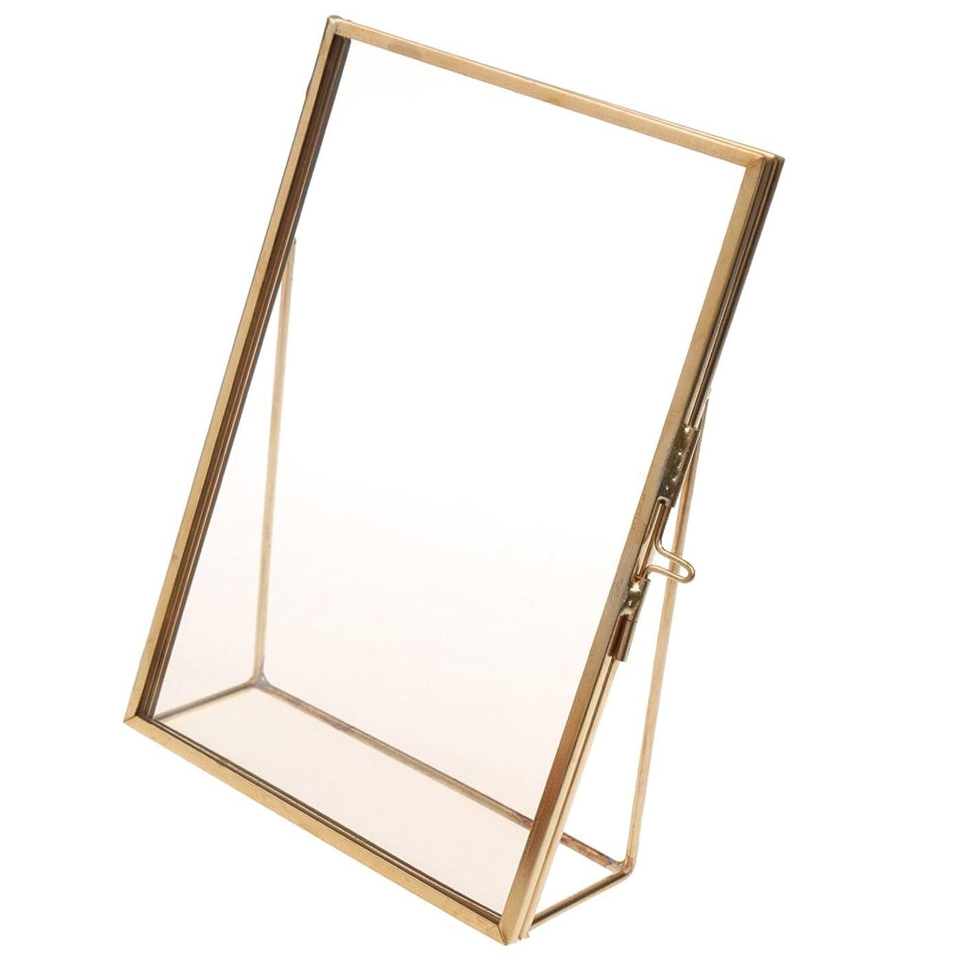 書き出す参照抹消Blesiya フォトフレーム ガラス製 贈り物 写真 絵 フレーム ホームの飾り フリースタンド 長方形 ホルダー 装飾