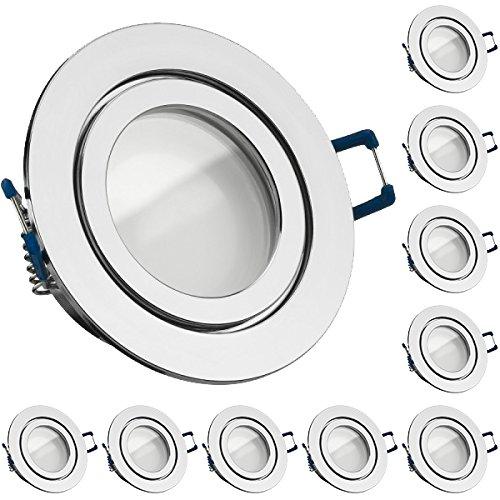 10er IP44 LED Einbaustrahler Set Chrom mit LED GU10 Markenstrahler von LEDANDO - 5W - warmweiss - 120° Abstrahlwinkel - Feuchtraum/Badezimmer - 35W Ersatz - A+ - LED Spot 5 Watt - Einbauleuchte rund