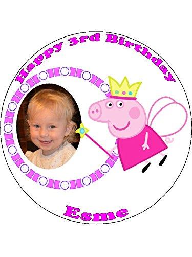 Peppa Pig Princess 7,5 avec votre photo Glaçage comestible décoratif pour gâteau d'anniversaire
