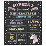 First Day of School Chalkboard - Unicorn Theme First Day of School Sign Photo Prop - 1st Day Back to School Board - Reusable Erasable 12 x 16 inch - Use Chalk to Personalize
