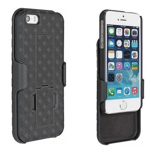 Holster Shell Combo Phone Case Kickstand Swivel Belt Clip Hard Slim Tough Cover Black for Apple Wydan iPhone SE 5 5S Case