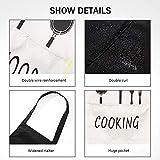 Queta Schürze Kochschürze 100% Baumwolle Wasserdicht Latzschürze mit Tasche (Weiß + Schwarz Ofenhandschuhe + Isolierpads (Schwarz) 2-teiliges Set - 3