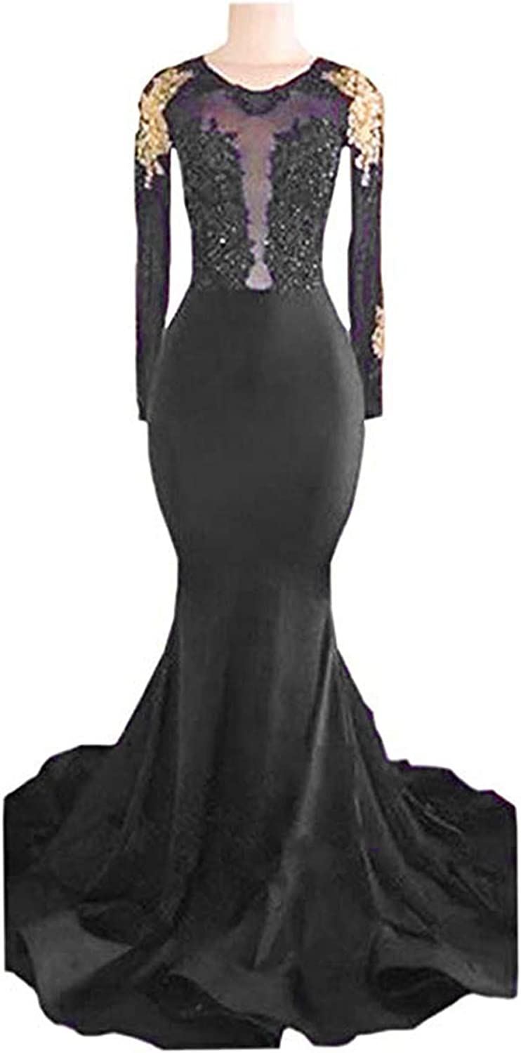 BridalAffair Sexy Backless Mermaid Prom Dress Illusion Beaded Lace Evening Gowns