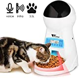amzdeal Cat Food Dispenser - 3.5L 4 Meals Automatic Cat Feeder with Timer Pet Feeder, Programmable Portion Settings, Voice Recording, LCD Panel, Automatic Feeder for Cats and Small Dogs
