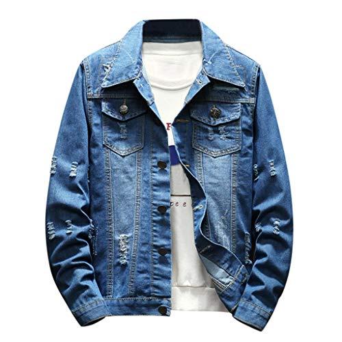 Azruma Herren Klassisch Jeansjacke Biker Style Jeans Jacket Blue Denim Jacke Blau Schnalle Kaputt Jeansjacke