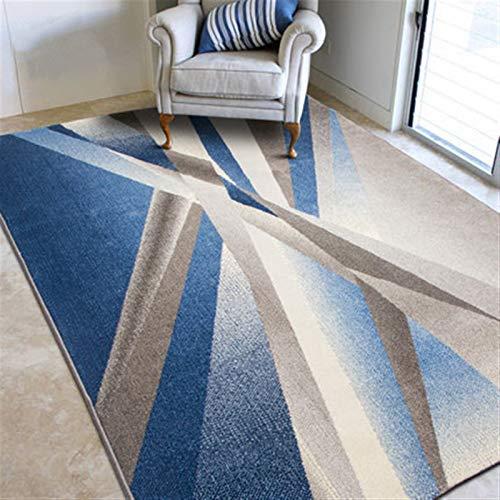 Alfombra Moderna Abstracta geométrica Salón Área Dormitorio Alfombras Antideslizante Alfombra Grande (Color : Geometric Blue, Talla : 160 * 230cm)