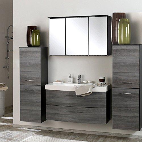 Badmöbel Set Eiche Rauchsilber graphitgrau (4 teilig) Waschtisch Badezimmer Badezimmermöbel LED Spiegelschrank