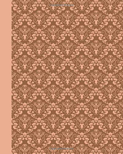 Sketch Journal: Damask (Peach) 8x10 - Pages are LINED ON THE BOTTOM THIRD with blank space on top (8x10 Patterns & Designs Sketch Journal)