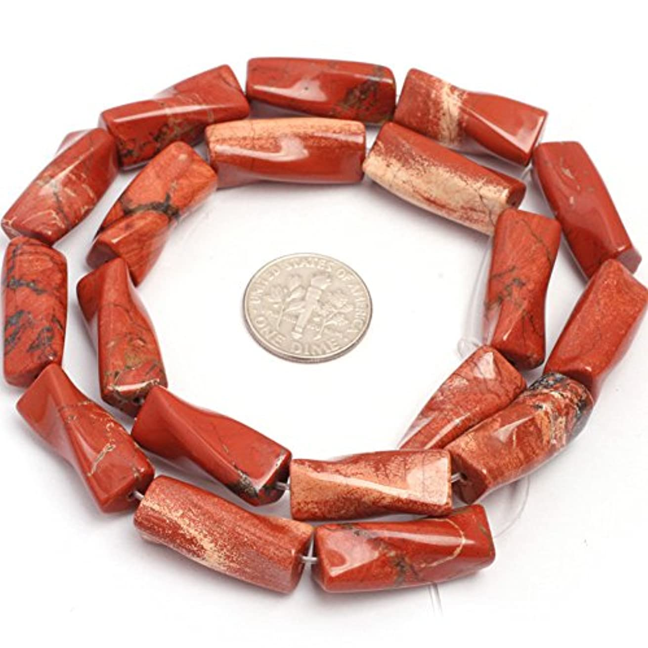 JOE FOREMAN 9x20mm Red Jasper Semi Precious Gemstone Twist Column Loose Beads for Jewelry Making DIY Handmade Craft Supplies 15