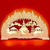 Sikora LB48 beleuchteter LED Holz Schwibbogen SEIFFENER Weihnachtsmarkt inklusive Trafo