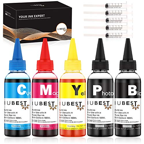 IUBEST 5 Farben Universal Nachfüll Tintenflaschen kompatibel für HP 364 903 953 932 933 934 935 950 951 920 940 970 971, 100 mL, Multipack (Schwarz, Blau, Rot, Gelb, Foto-schwarz)
