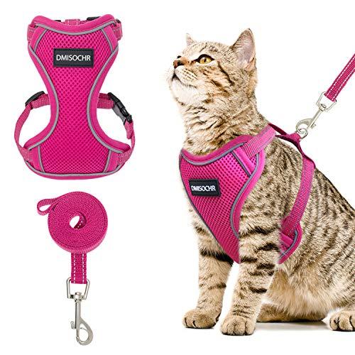 DMISOCHR Cat Harness and Leash Set – Escape Proof Safe Cat Vest Harness for Walking Outdoor – Reflective Adjustable Soft…