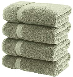 in budget affordable White Classic Luxury Bath Towel Large – Cotton Towel for Bath at Hotel Spa | 27 × 54 | 4 Packs | Green
