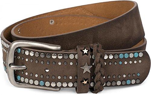 styleBREAKER cinturón de remaches de un material suave con tachuelas y remaches en forma de estrella, 03010073, 90cm, color:Marrón oscuro (Ropa)