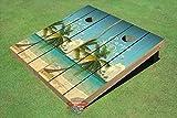 10. All American Tailgate Beach Palm Tree #4 Carpe Diem Theme Corn Hole Boards Cornhole Game Set