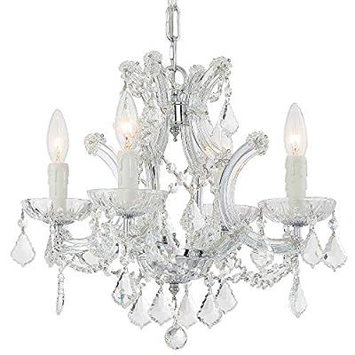 Maria Theresa 4 Light Clear Italian Crystal Chrome Mini Chandelier
