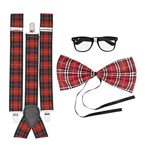 Widmann 03617 - Nerd set, bretels, vlinderdas en bril