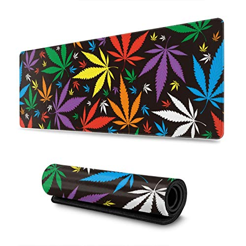Colorful Leaf Pattern Gaming Mouse Pad XL, Extended Large Mouse Mat Desk Pad, Stitched Edges Mousepad, Long Non Slip Rubber Base Mice Pad, 31.5 X 11.8 Inch