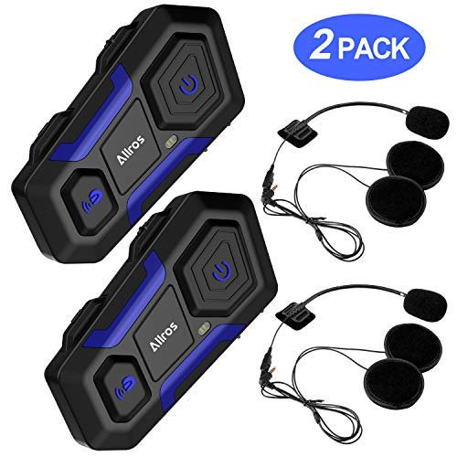 ALLROS T10 Bluetooth 3.0 Motorcycle Helmet Intercom Wireless Communication Headset Supports up to 3 Riders Hands-Free Group Call Communication for Motorbike Bike ATV Car Skiing (2 Headsets)