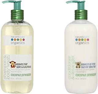 Nature's Baby Organics Coconut Pineapple Shampoo & Conditioner Combo Pack, 2 Pack of 16 oz, Cruelty Free, Gentle on Skin