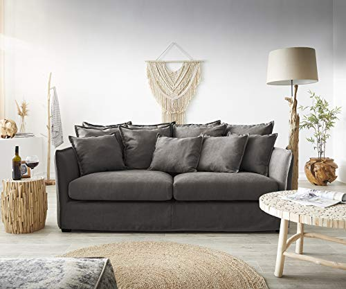 DELIFE Couch Ayla Khakibraun 208x139 cm mit Kissen Hussensofa