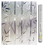 5 M Película de ventana estática para vidrio Pegatina de privacidad Vidrio helado Ventana autoadhesiva Abrillado Decorativo 3D Patrón de bambú para la familia familiar Protección de privacidad Películ