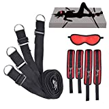 Sex Bondage BDSM Kit Restraints Set Sex Toys with Hand Cuffs Ankle Cuff Bondage Collection & Blindfold-RED BDSM