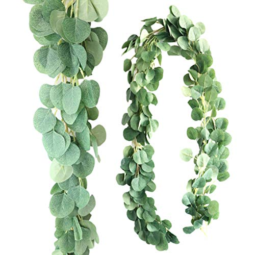 2 Pack Eucalyptus Garland - Wedding Greenery Backdrop Arch Wall Decor - 6 Feet Realistic Shape Fake Silk Leaves Vines Mantle Decoration for Living Room, Home, Office & Outdoor