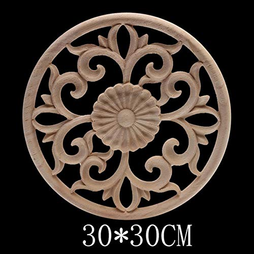 Hummla Dekorative antike natürliche Geschnitzte Holzfiguren Holz Aufkleber Holzapplikation Onlay große Lange ovale Holzfenster Möbel Schrank, B141-7