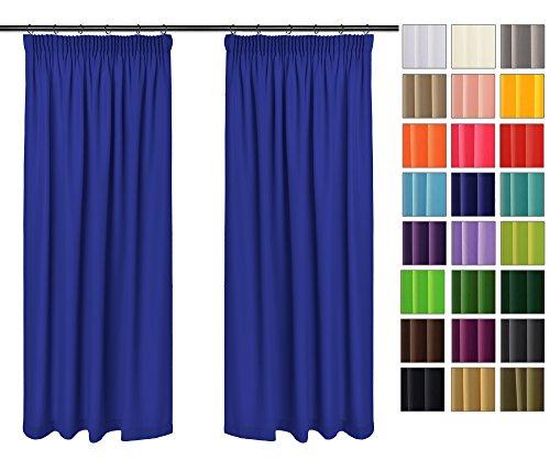 Rollmayer Vorhänge mit Bleistift Kollektion Vivid (Kornblume Farbe 15, 135x150 cm - BxH) Blickdicht Uni einfarbig Gardinen Schal für Schlafzimmer Kinderzimmer Wohnzimmer
