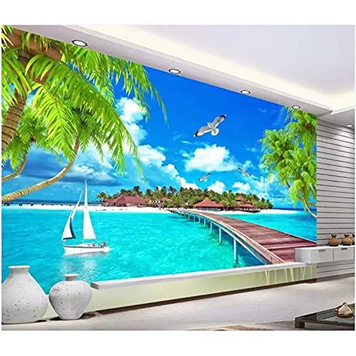 Papel tapiz 3d Maldivas playa árbol de coco Aegean TV fondo pared decoración del hogar sala de estar papel tapiz pared 3d 400x280cm