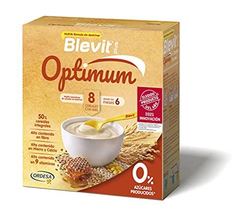 Blevit Plus Optimum 8 Cereales con Miel - Papilla de Cereales para Bebé con 50% de Cereales Integrales - Únicas Papillas para Bebé Sin Dextrinar - Desde los 6 meses - 400g