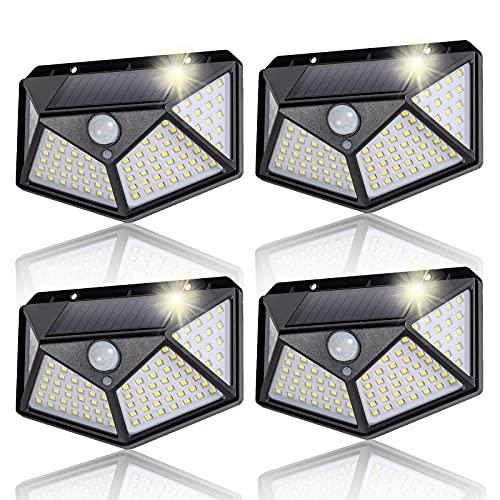 Luce Solare Esterno, 4 Pezzi 100 LED Lampada Solare Grandangolare da 180° con Sensore di Movimento, 3...