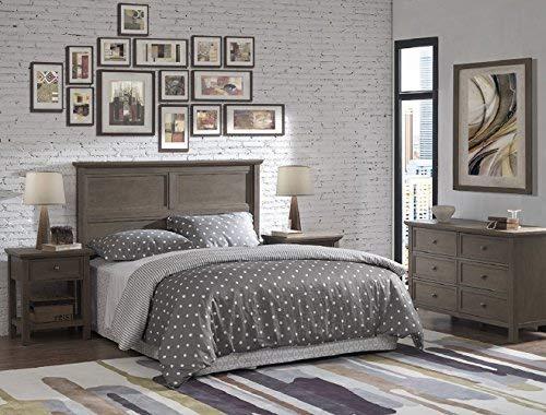 RUNFINE Bedroom Rustic Collection All Wood Queen Size Headboard, Queen. Grey Finish