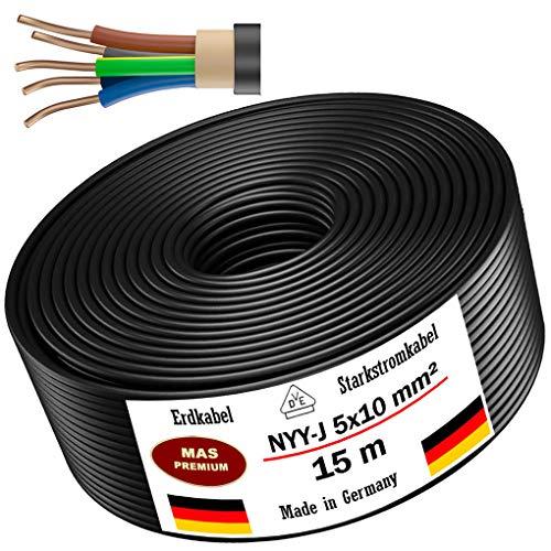 Erdkabel Stromkabel 3, 5, 10, 15, 20, 25, 30 oder 35m NYY-J 5x10 mm² Elektrokabel Ring zur Verlegung im Freien, Erdreich (15m)