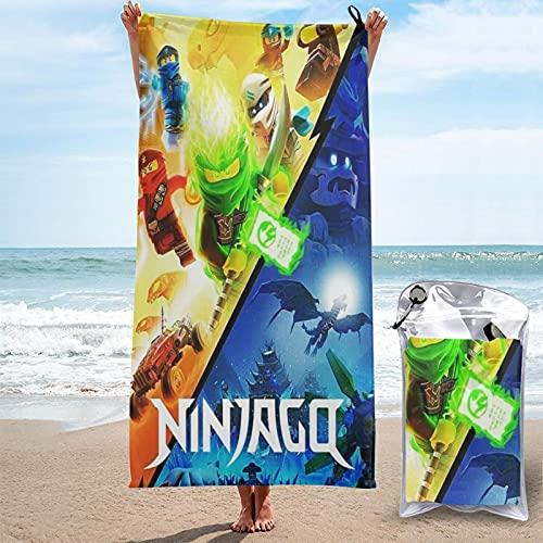 Ninjago - Toalla de baño de microfibra con bolsa de embalaje y mosquetón, adecuada para deportes de gimnasio, camping, viajes, natación, yoga